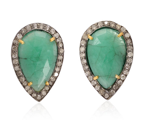 Emerald and Diamond Pear Shaped Studs