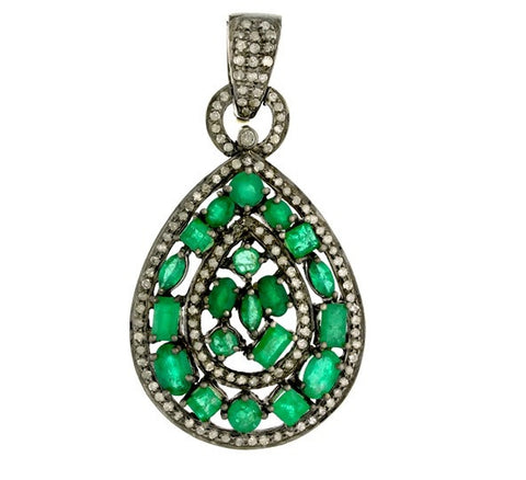 Vintage Inspired Emerald abd Diamond Pendant