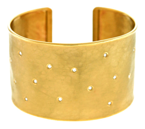 Diamond and 14K Yellow Gold Cuff Bracelet with Hammered Finish