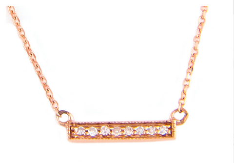 Delicate Micro Pave Rose Gold Diamond Bar Pendant