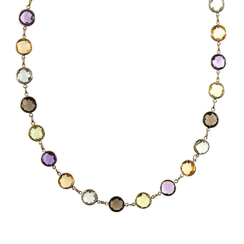 Multi Color Gem Necklace in 14k Yellow Gold