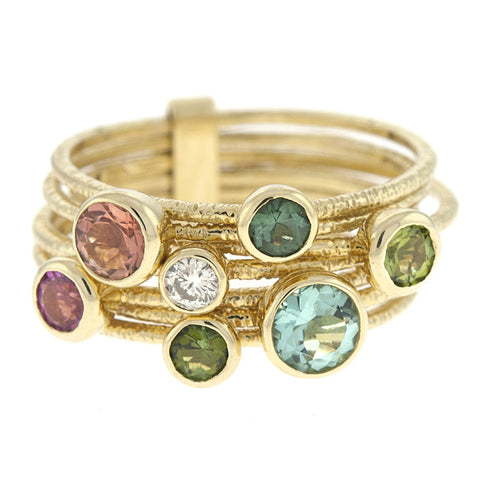 Multi Color Gemstone Wrap Ring in 14k Gold