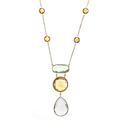 Multi Color Semi Precious Gemstone and 14K Gold Necklace