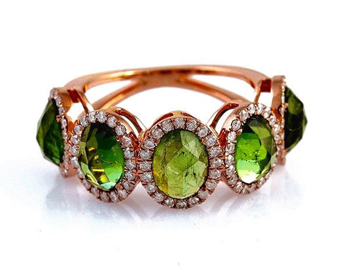 Green Tourmaline and Diamond Rose Gold Ring