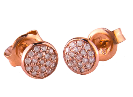 Micro Pave Diamond Disc Earrings in Gold