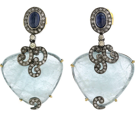 Sapphire and Aquamarine Vintage Style Drop Earrings