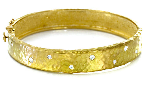 Diamond and 18K Yellow Gold Bangle Bracelet with Hammered Finish