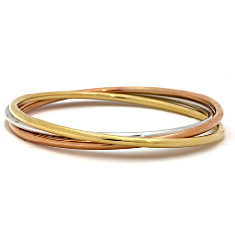 Tri-Color 14K Gold Bangle Bracelet