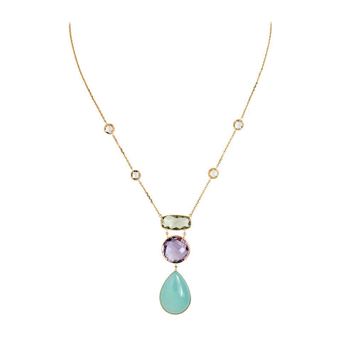 Amethyst and Chalcedony Necklace set in 14K Yellow Gold