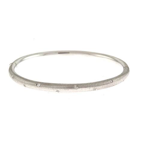 18K White Gold and Diamond Etoile Bangle with Matte Finish
