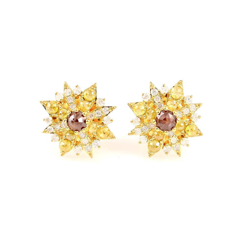 Yellow and Orange Diamond Starburst Studs