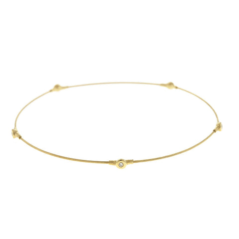 Diamond and Gold Wire Bangle