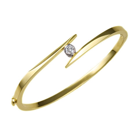 14K Yellow Gold and Diamond Zig Zag Bangle Bracelet