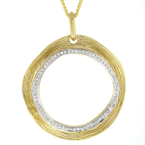 14K Textured Yellow Gold and Diamond Circle Pendant