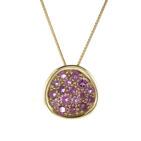 Pink Tourmaline and Yellow Gold Pendant