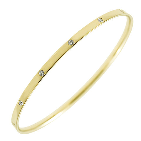 18K Yellow Gold and Diamond Bangle Bracelet