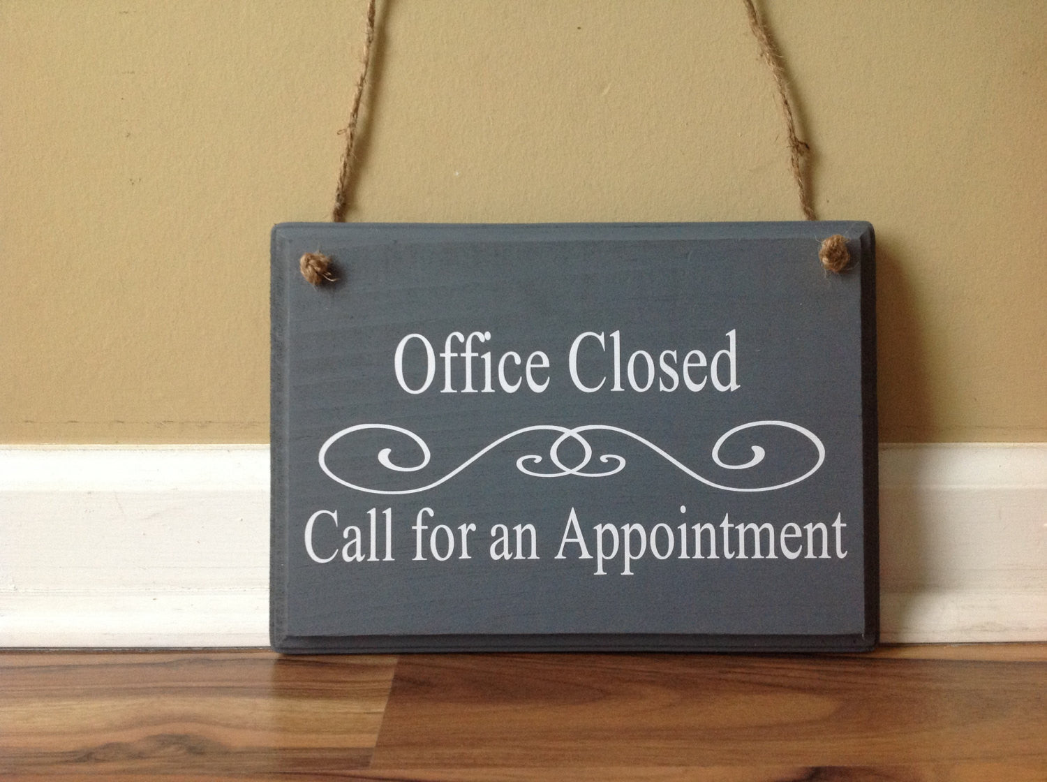 Front Door Sign Part - 32: Office Closed Call For An Appointment Door Hanger Wood Hand Painted Custom  Hanging Door Sign Front