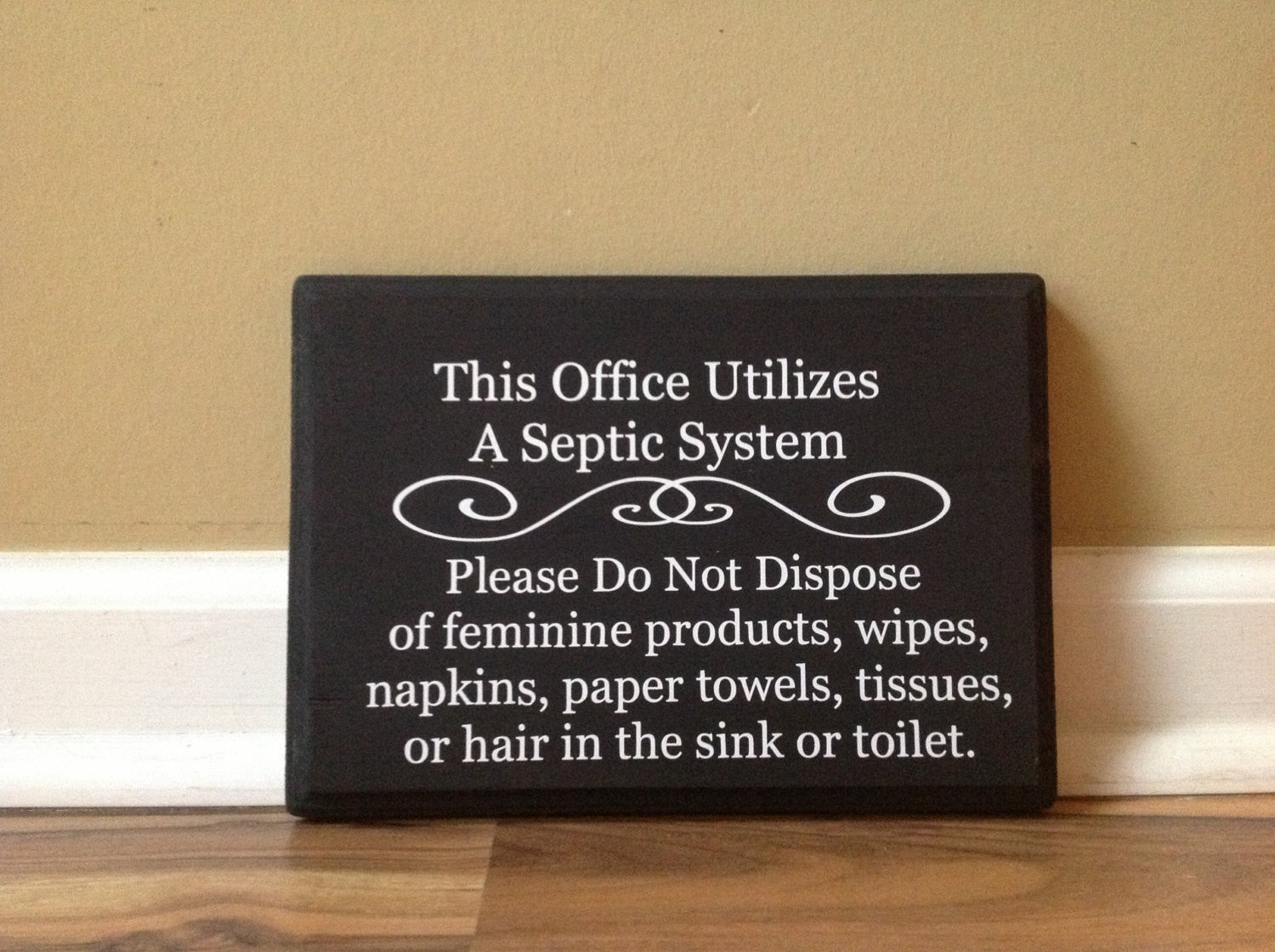 Bathroom Signs Please Flush septic system rules office wooden sign plaque do not flush