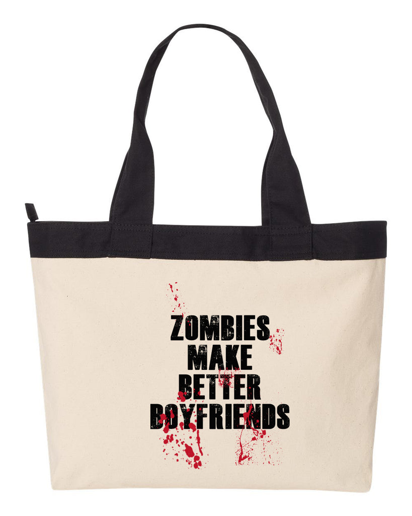 Zombies Make Better Boyfriends Tote Bag, Carryall, Tote Bag, Market, Diaper Bag, Gym Bag, Beach Bag