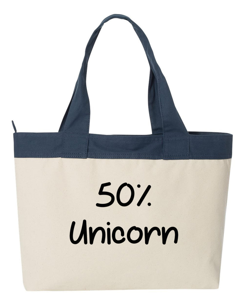 50% Unicorn Tote Bag, Carryall, Tote Bag, Market, Diaper Bag, Gym Bag, Beach Bag