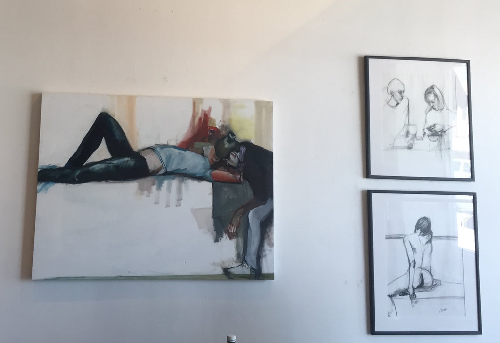 Whisper in my Ear & Charcoal Drawings (installed)