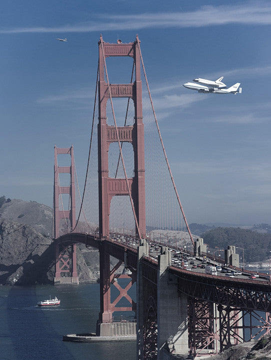 Golden Gate Bridge and Space Shuttle