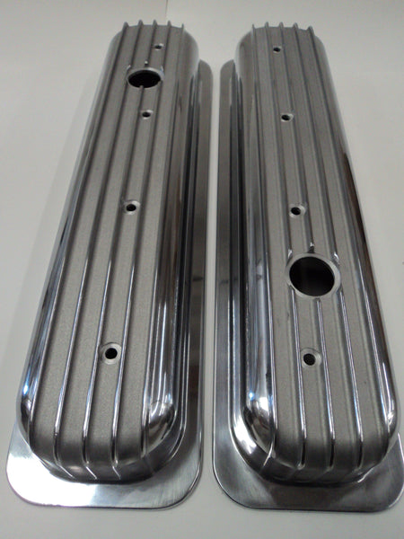 Small Block Chevy Center Bolt Finned Polished Aluminum Valve Covers - Short