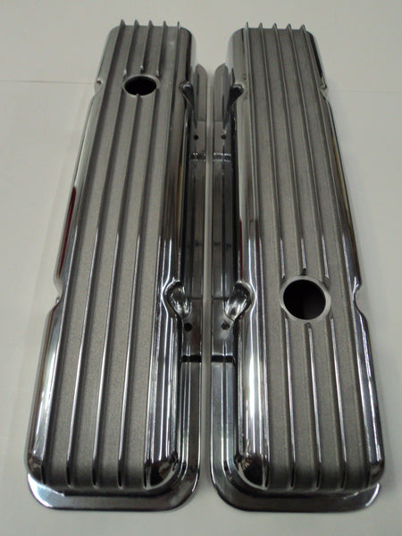 Small Block Chevy Finned Polished Aluminum Valve Covers - Short