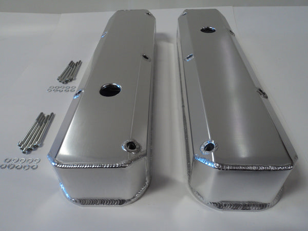 Small Block Mopar Clear Anodized Fabricated Aluminum Valve Covers