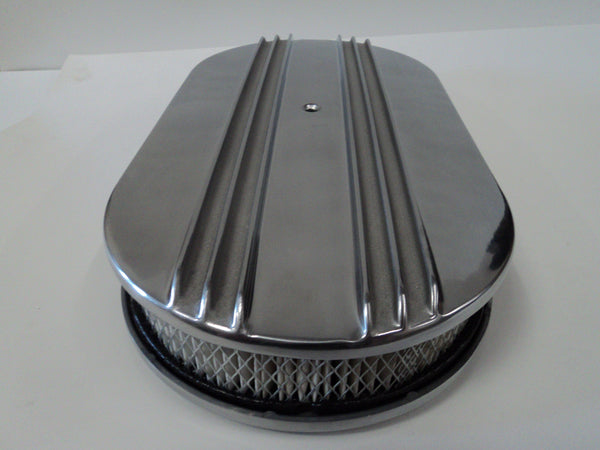 "15"" Half Finned Polished Aluminum Air Cleaner"