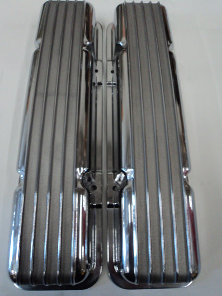 Small Block Chevy Finned Polished Aluminum Valve Covers - Short - No Hole