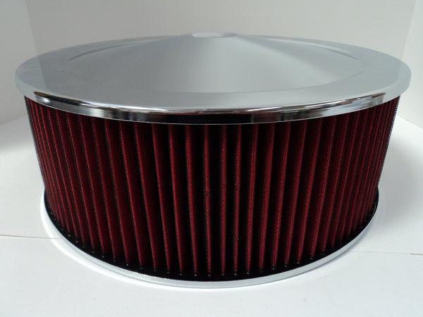 14 X 5 Chrome Air Cleaner Recessed Base Washable