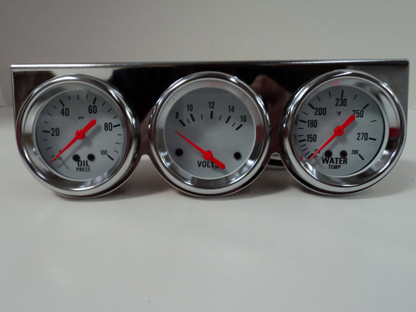 Chrome Mechanical Complete Triple Gauge Kit Hot Rod