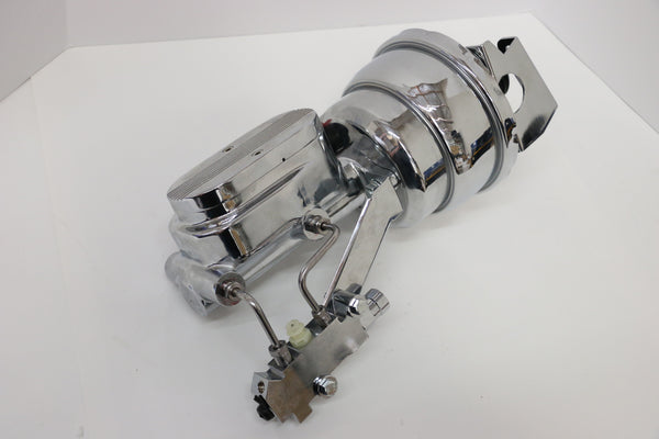 "7"" Chrome Brake Booster With Finned Master Cylinder, Disc/Drum Propotioning Valve, Chrome Lines and Proportioning Valve Bracket"