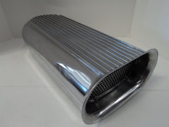 Finned Polished Aluminum Hood Scoop - Dual Quad