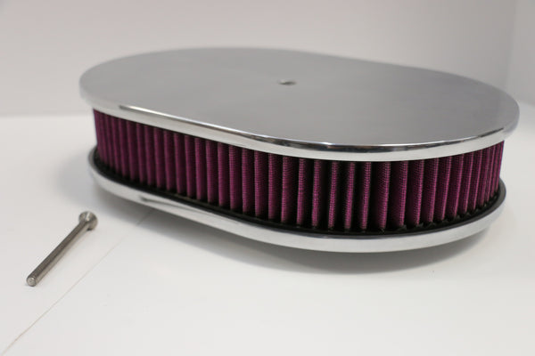 "12"" Smooth Polished Aluminum Air Cleaner Washable"