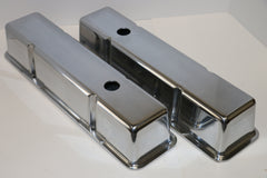 Small Block Chevy Smooth Polished Aluminum Valve Covers - Tall