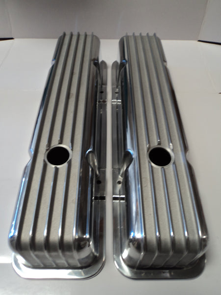 Small Block Chevy Finned Polished Aluminum Valve Covers - Tall