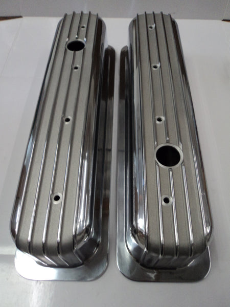 Small Block Chevy Center Bolt Finned Polished Aluminum Valve Covers - Tall