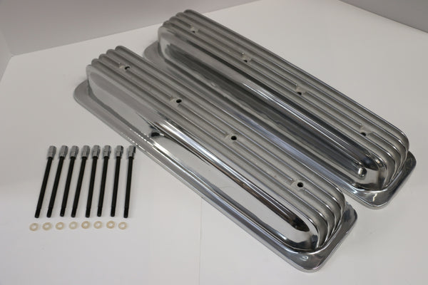 Small Block Chevy Centerbolt Finned Polished Aluminum Valve Covers - Short - No Holes