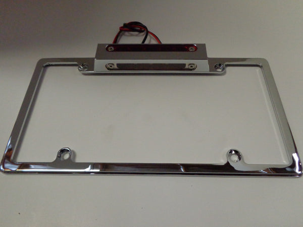 Chrome Aluminum License Plate Frame Wth LED 3rd Brake Light