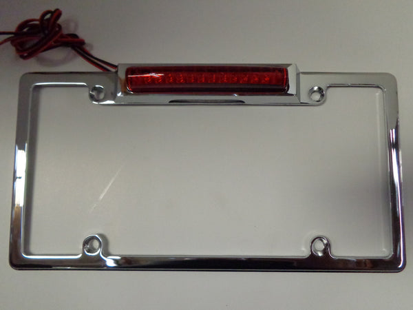Chrome Aluminum License Plate Frame Wth 3rd Brake Light