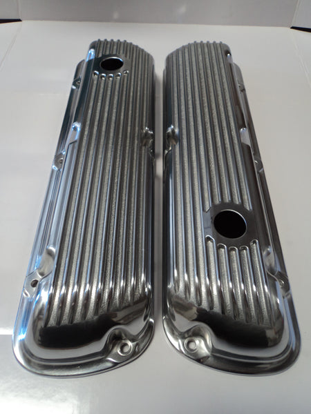 Small Block Ford Finned Polished Aluminum Valve Covers - Short
