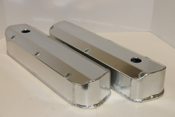 Small Block Ford Fabricated Clear Anodized Aluminum Valve Covers - Tall