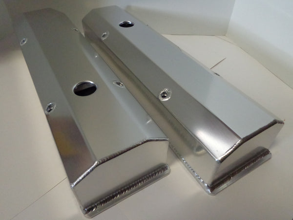 Small Block Chevy Clear Anodized Fabricated Aluminum Valve Covers - Tall