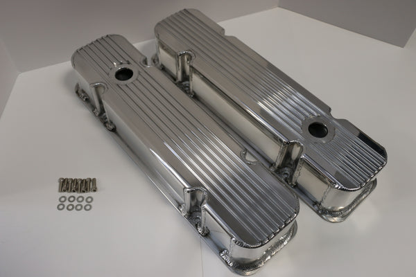 Pontiac Finned Clear Anodized Fabricated Aluminum Valve Covers - Tall