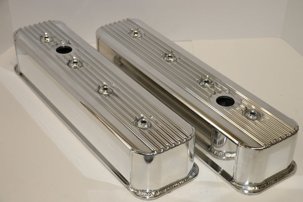 Small Block Chevy Centerbolt Finned Fabricated Clear Anodized Aluminum Valve Covers - Tall