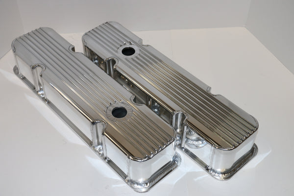 Small Block Chevy Finned Fabricated Clear Anodized Aluminum Valve Covers - Tall