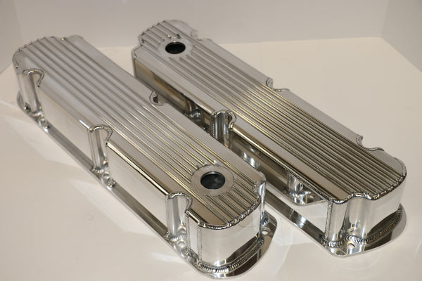 Small Block Ford Finned Fabricated Clear Anodized Aluminum Valve Covers - Tall