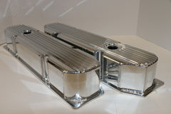 Big Block Mopar Finned Fabricated Clear Anodized Aluminum Valve Covers